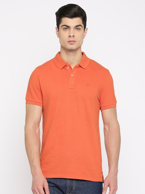 Celio Men Orange Solid Polo Collar T-shirt  available at myntra for Rs.999