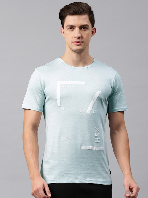 HRX by Hrithik Roshan Men Blue Printed Round Neck T-shirt  available at myntra for Rs.239