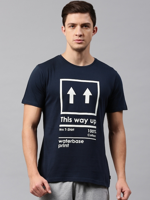 HRX by Hrithik Roshan Men Navy Printed Round Neck T-shirt  available at myntra for Rs.239