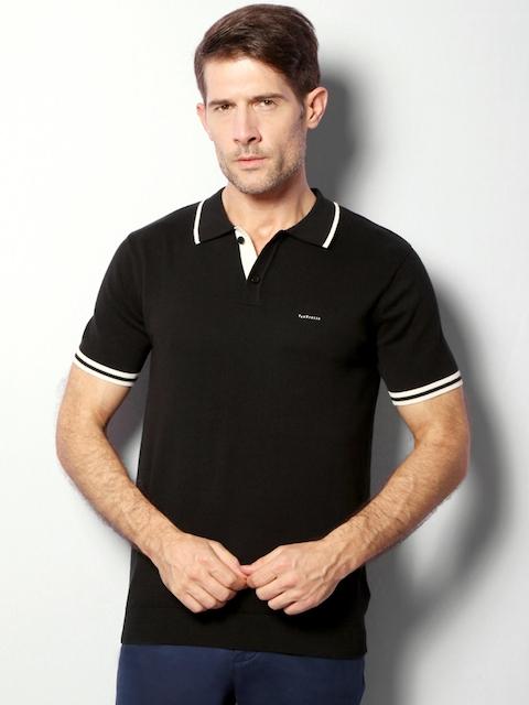Van Heusen Men Black Solid Polo Collar T-shirt