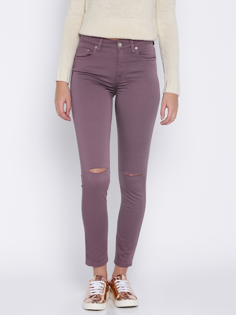 Aeropostale Women Purple Slim Fit High-Rise Slash Knee Cropped Stretchable Jeans
