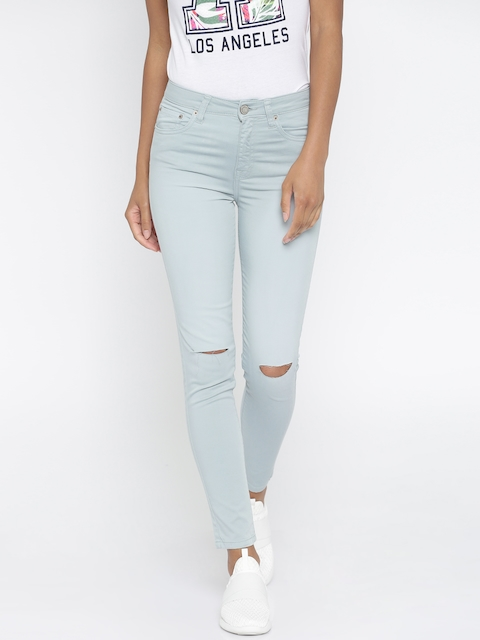 Aeropostale Women Blue Slim Fit High-Rise Slash Knee Cropped Stretchable Jeans