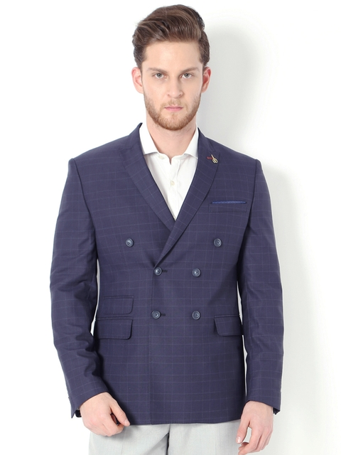 Van Heusen Blue Double-Breasted Slim Fit Casual Blazer