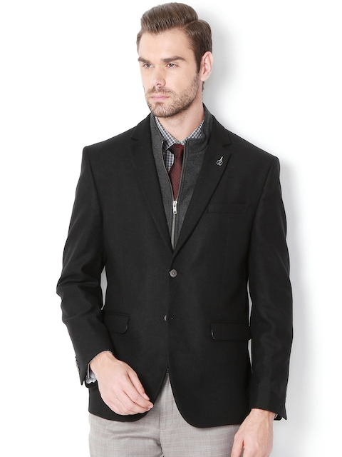 Van Heusen Black Single-Breasted Slim Fit Formal Blazer