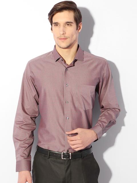 Van Heusen Men Grey & Maroon Contemporary Fit Printed Formal Shirt