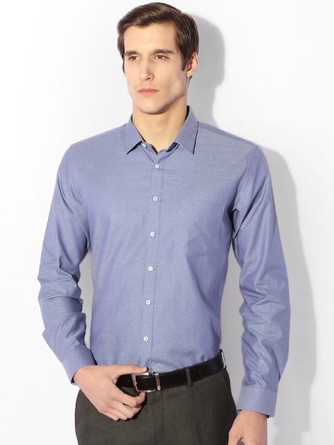 Van Heusen Men Blue Slim Fit Self Design Formal Shirt