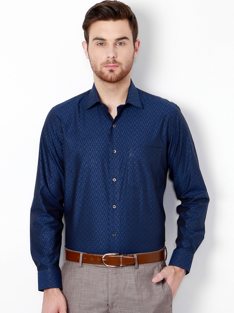 Van Heusen Men Blue Slim Fit Solid Formal Shirt