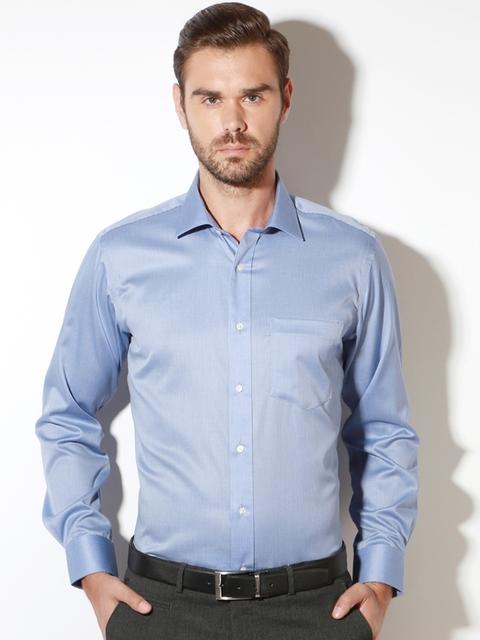 Van Heusen Men Blue Slim Fit Checked Formal Shirt