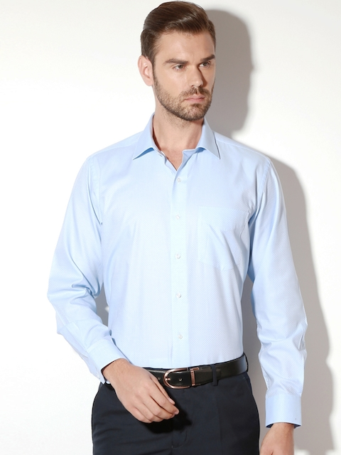 Van Heusen Men Blue Contemporary Regular Fit Self Design Formal Shirt