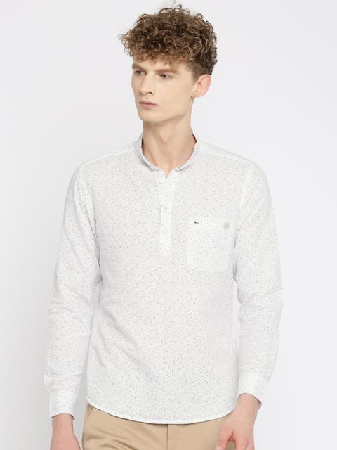 Indigo Nation Men White Slim Fit Printed Short Kurta