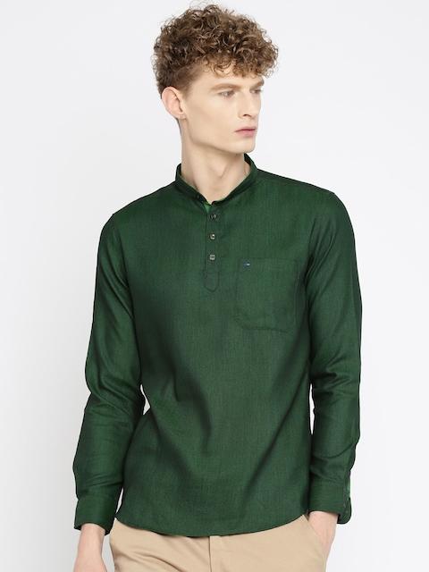 Indigo Nation Men Green Slim Fit Self Design Short Kurta