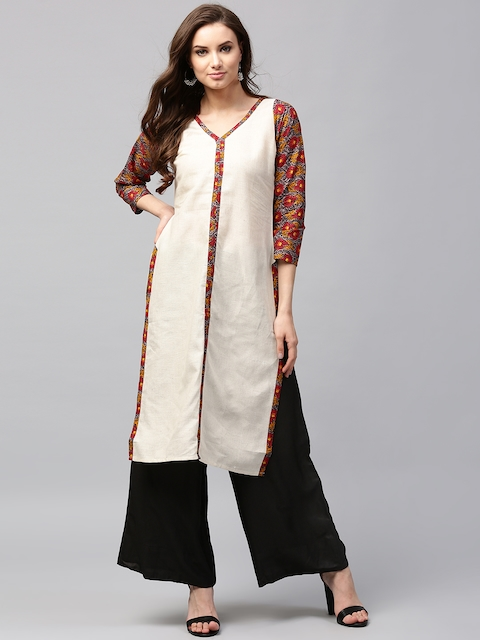 Libas Women Cream-Coloured & Red Solid Straight Kurta  available at myntra for Rs.399