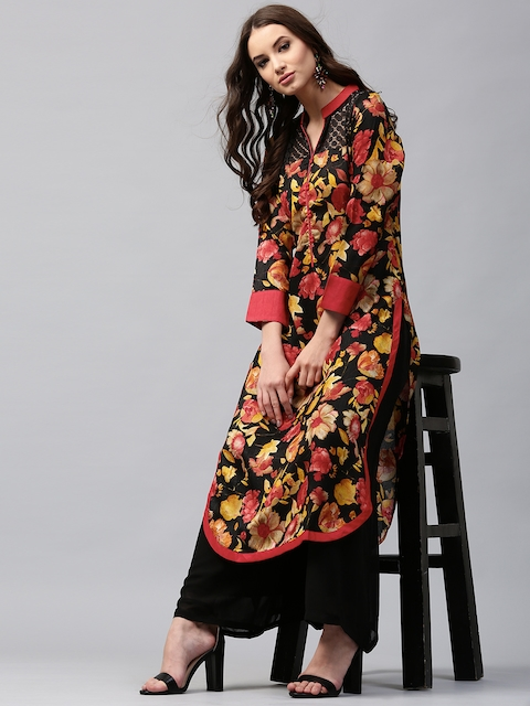 Libas Women Black & Red Chanderi Silk Printed Straight Kurta  available at myntra for Rs.599