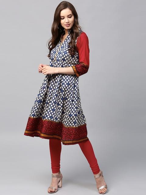 Libas Women Cream-Coloured & Navy Printed Anarkali Kurta  available at myntra for Rs.499