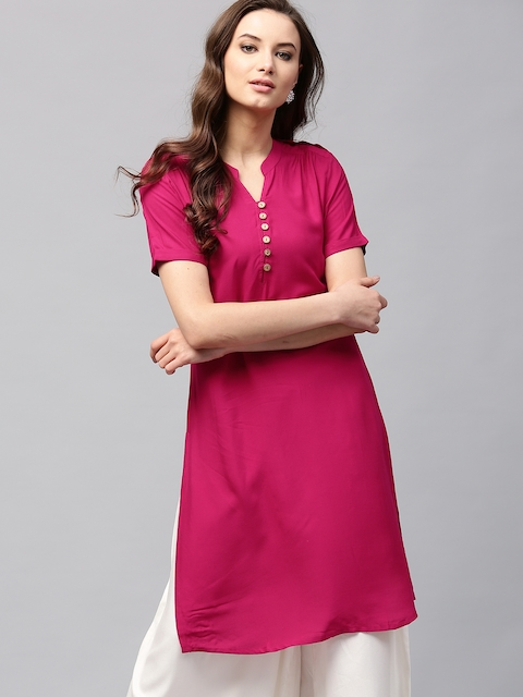 Libas Women Pink Solid Straight Kurta  available at myntra for Rs.349