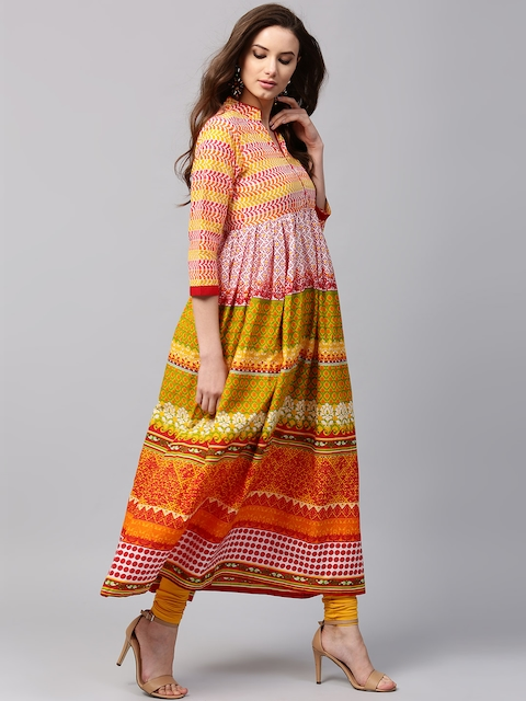 Libas Women Multicoloured Printed Anarkali Kurta  available at myntra for Rs.599