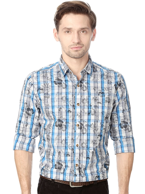 Peter England Men White & Blue Skinny Fit Printed Casual Shirt