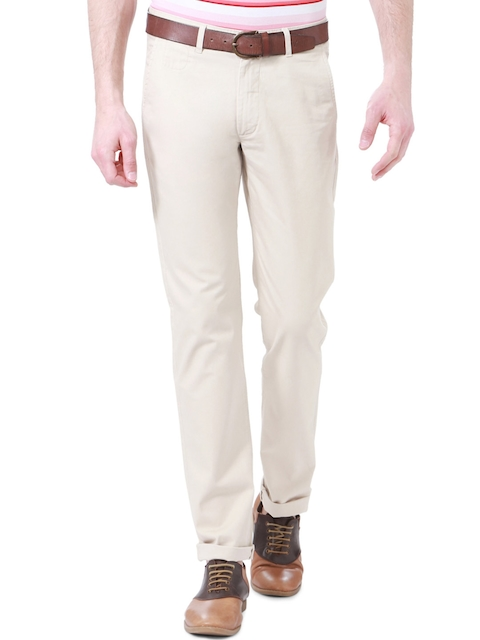 Peter England Men Beige Super Slim Fit Solid Chinos