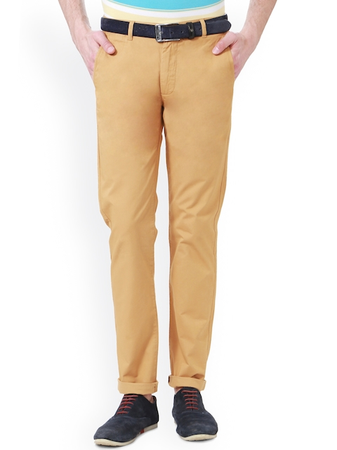 Peter England Men Khaki Super Slim Fit Solid Chinos