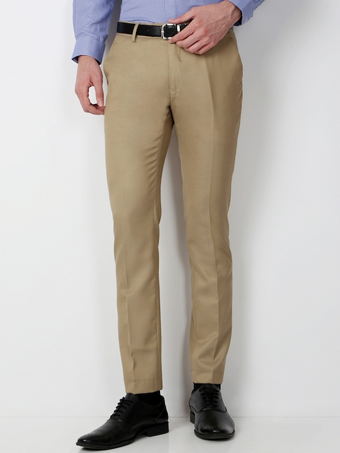 Peter England Men Khaki Super Slim Fit Solid Chino Trousers