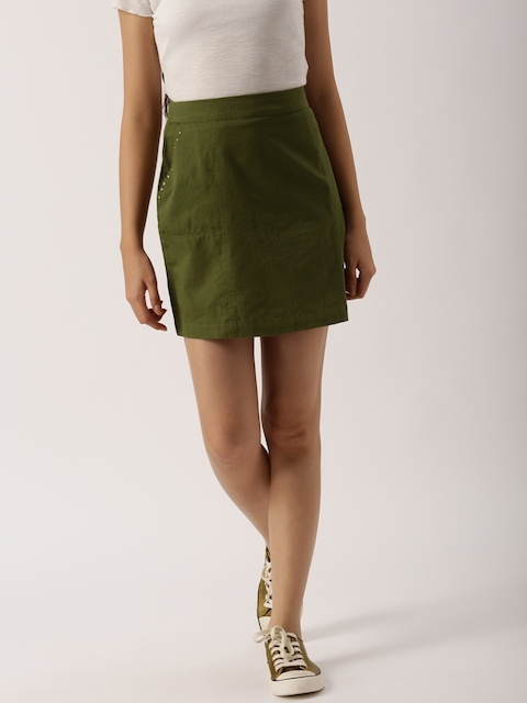 DressBerry Women Olive Green Mini Skirt  available at myntra for Rs.519
