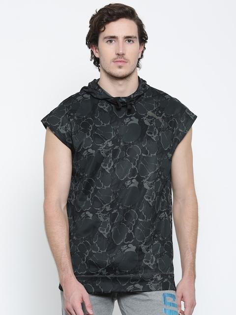 Puma Men Black & Olive Green Printed TECH FLEECE SL Hooded Sweatshirt