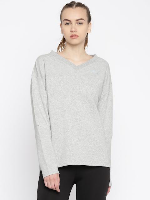 Puma Women Grey Melange Printed Sweatshirt