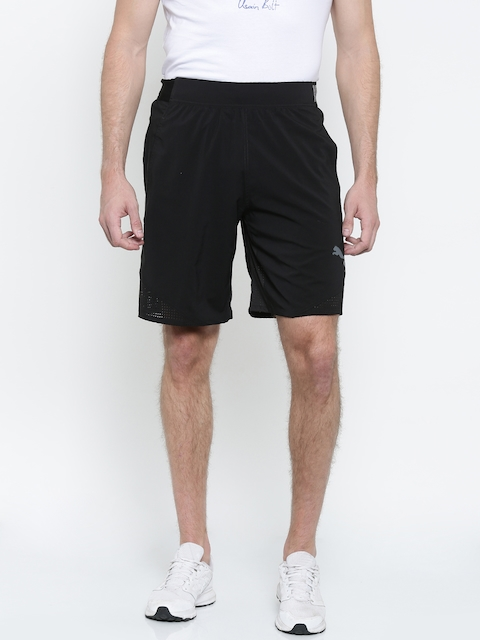 Puma Men Black Solid Regular Fit Sports Shorts