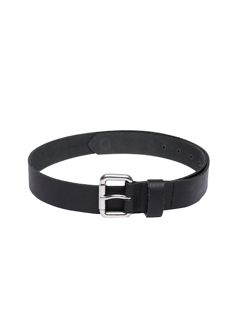 VIARI Women Black Solid Leather Belt