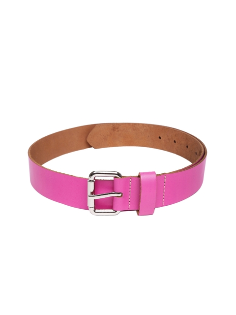 VIARI Women Pink Solid Leather Belt