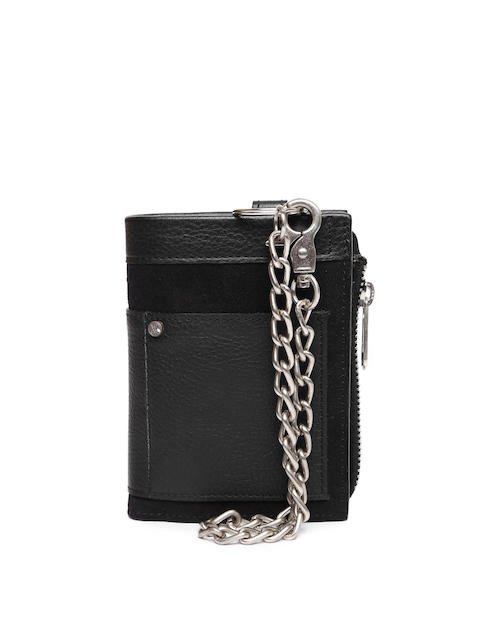 VIARI Men Black Leather Two Fold Wallet