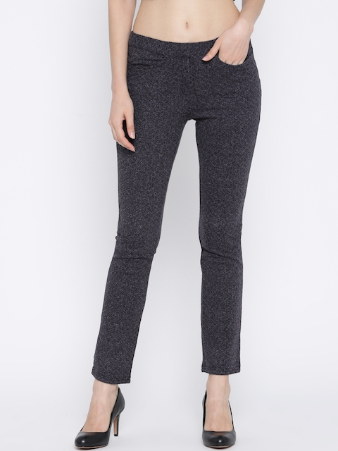 Biba Women Charcoal Grey Self Design Trousers