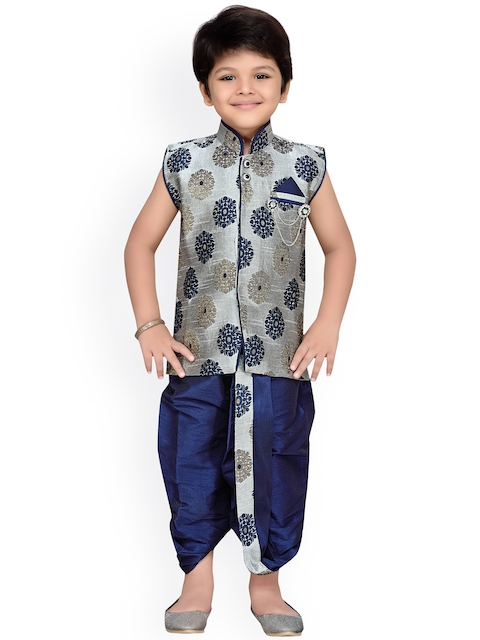 Aj DEZInES Boys Grey & Blue Patterned Dhoti Set