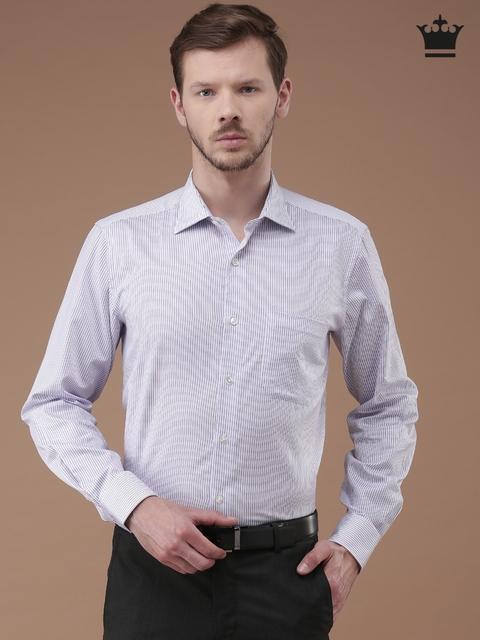 Louis Philippe Men White & Lavender Regular Fit Striped Formal Shirt