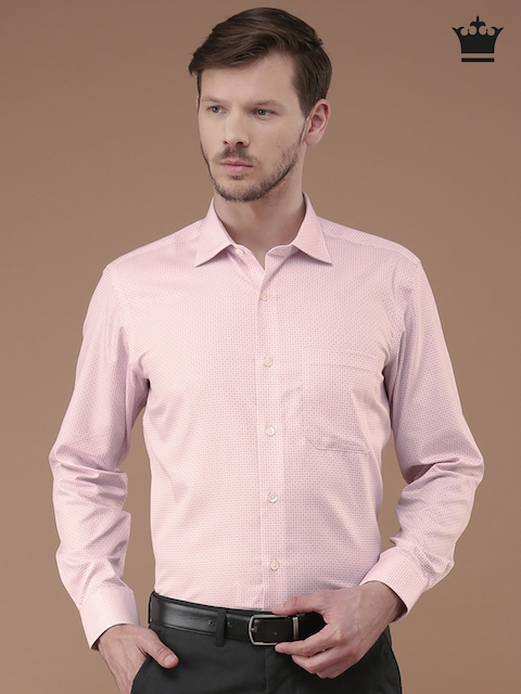 Louis Philippe Pink & White Checked Formal Shirt