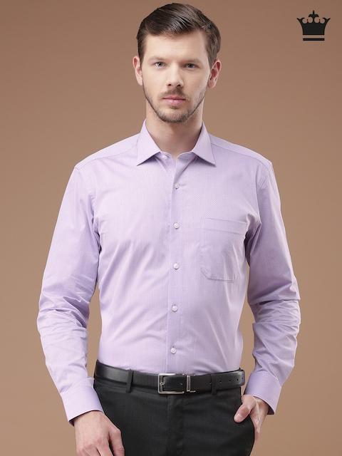 Louis Philippe Men Lavender Printed Regular Fit Formal Shirt