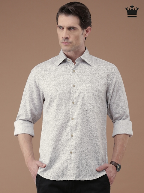 Louis Philippe White Printed Casual Shirt