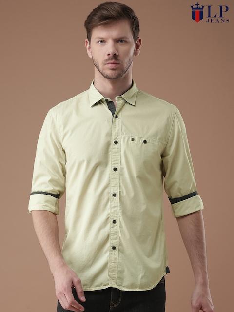 Louis Philippe Jeans Men Beige Self Design Slim Fit Casual Shirt