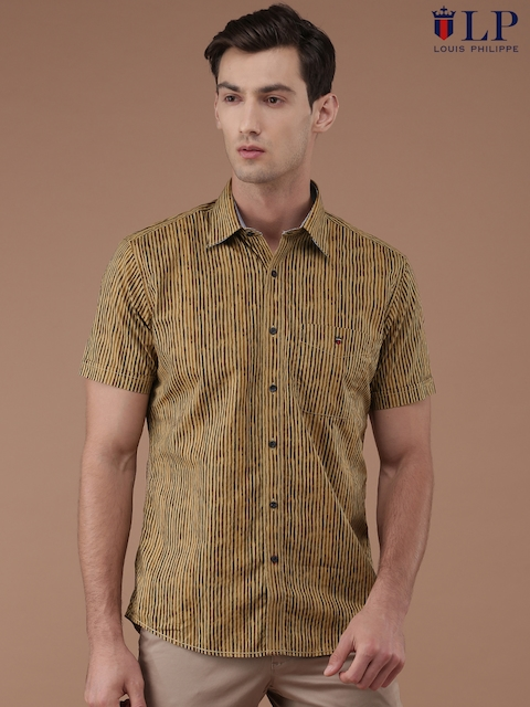Louis Philippe Sport Men Beige & Brown Tailored Fit Striped Casual Shirt