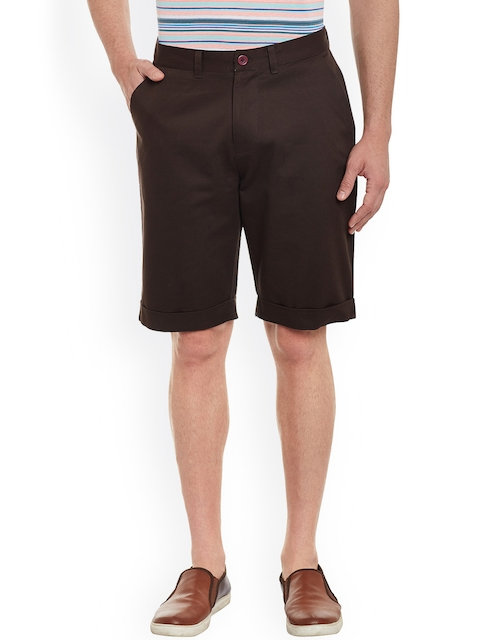 Atorse Men Coffee Brown Solid Regular Fit Chino Shorts  available at myntra for Rs.649