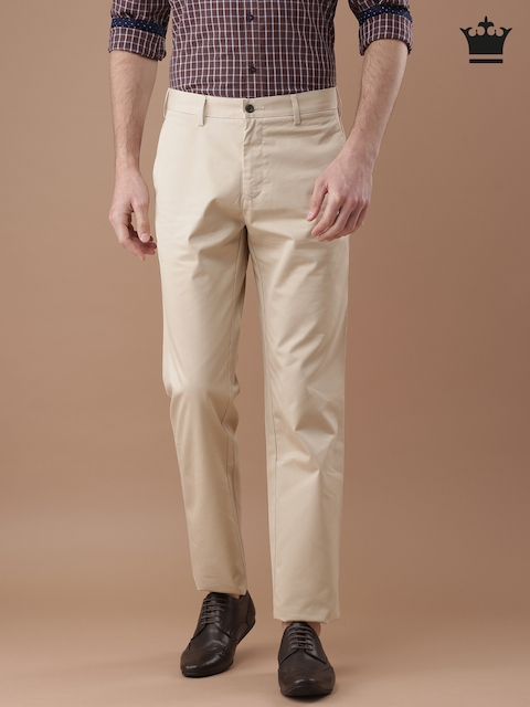 Louis Philippe Men Beige New Standard Fit Solid Chinos