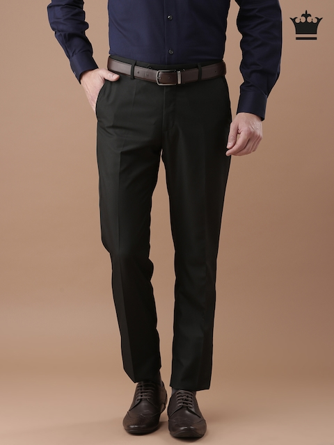 Louis Philippe Black Ultra Slim Fit Striped Formal Trousers
