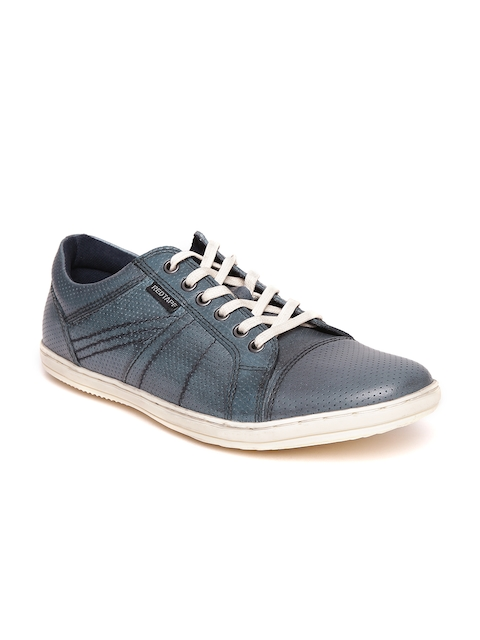 Red Tape Men Blue Leather Textured Sneakers