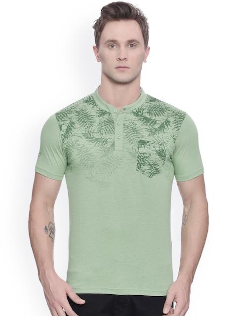 Crocodile Men Green Printed Henley Neck T-shirt