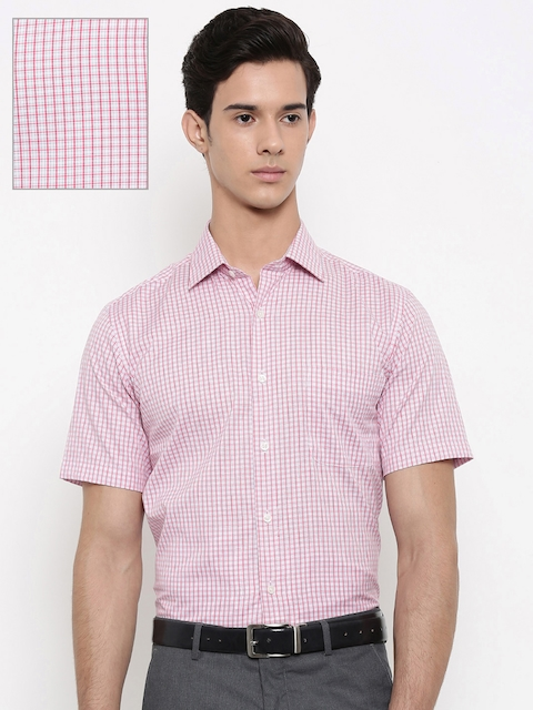 Arrow Men Pink & White Regular Fit Checked Formal Shirt