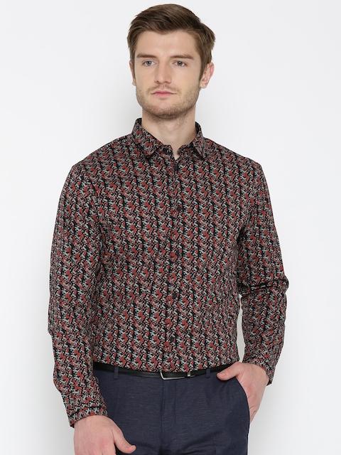 Arrow New York Men Black & Grey Snug Fit Printed Casual Shirt
