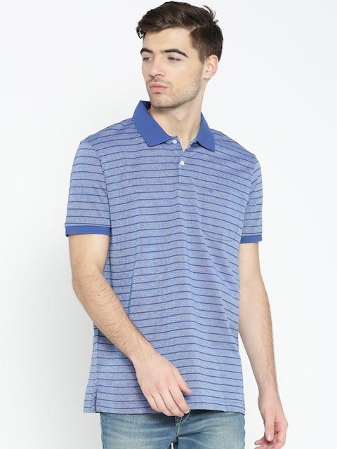 Arrow Men Blue Striped Polo Collar T-shirt