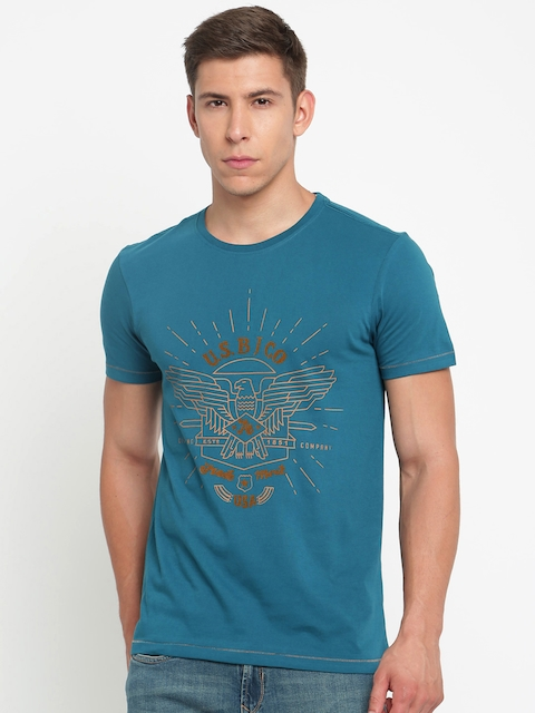 Arrow Blue Jean Co. Men Teal Blue Printed Round Neck T-shirt  available at myntra for Rs.399