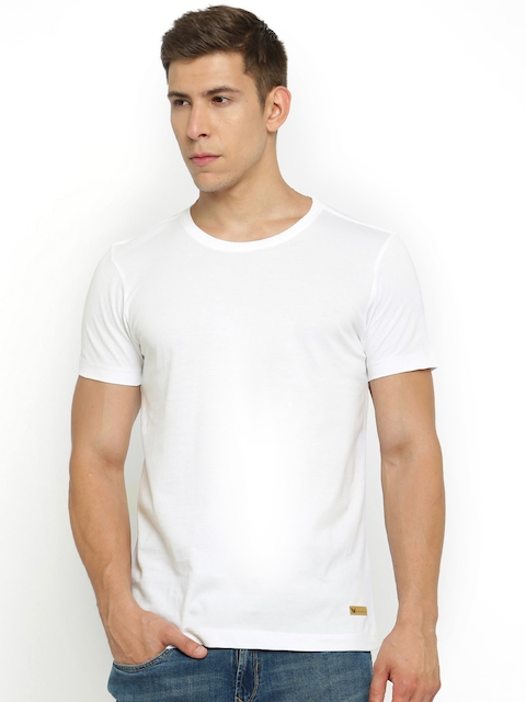 Arrow Blue Jean Co. Men White Solid Round Neck T-shirt  available at myntra for Rs.499