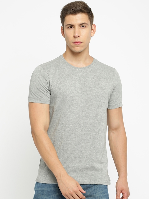 Arrow Blue Jean Co. Men Grey Melange Solid Round Neck T-shirt  available at myntra for Rs.499